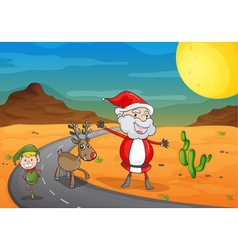 a boy a santa claus and a reindeer vector image vector image