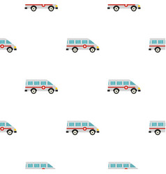 Ambulance car pattern seamless vector