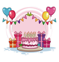 Birthday gifts and cake with balloons vector