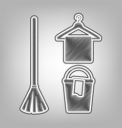 Broom bucket and hanger sign pencil vector