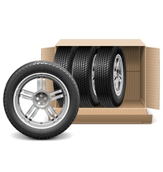 Car wheels in carton box vector