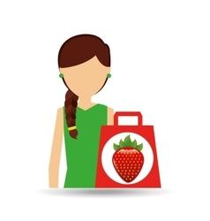Cartoon girl shopping strawberry fruit icon vector