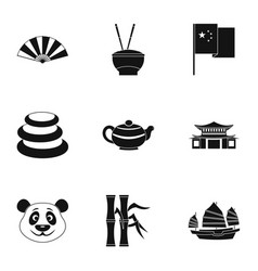 chinese icon set simple style vector image vector image