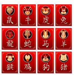 Chinese zodiac signs with calligraphy hieroglyphs vector