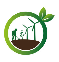 color circular frame with farmer and wind turbines vector image vector image