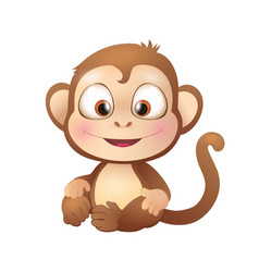 Cute Brown Monkey Smiling vector image
