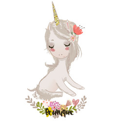 cute cartoon unicorn vector image vector image