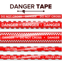 danger tape red and white warning tape vector image