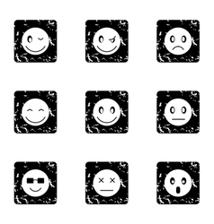 Emoticons for messages icons set grunge style vector