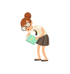 funny nerd girl interested in reading book vector image vector image