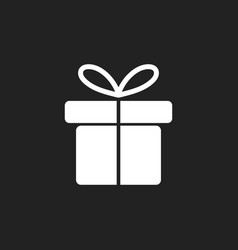 gift box icon flat on black background vector image vector image