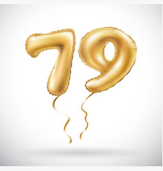 Golden number 79 seventy nine metallic balloon vector