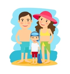 Happy family at beach vector
