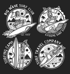 Logos with skeleton surfers vector