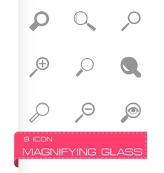 magnifying glass icons set vector image vector image