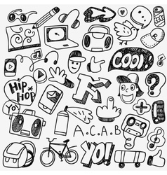 music rap graffiti doodles vector image vector image