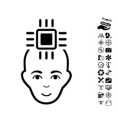 Neural computer interface icon with copter tools vector