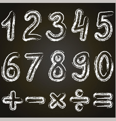 Numbers from zero to nine and math symbols vector