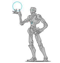 robot droid iron man vector image