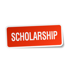 Scholarship red square sticker isolated on white vector