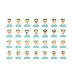 Set of doctor emoticon isolated on white vector image vector image
