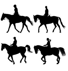 Set silhouette of horse and jockey vector