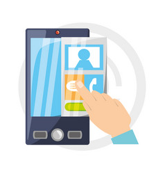 smartphone with contacts elements to talk vector image vector image