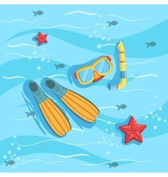 Snorkeling Equipment With Blue Sea Water On vector image vector image