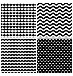 Waves patterns set in black and white vector image vector image