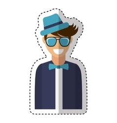 young man character hipster style vector image