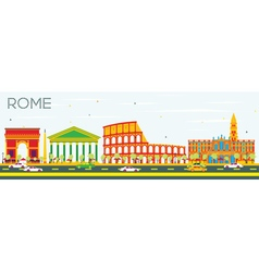 Rome skyline with color buildings vector