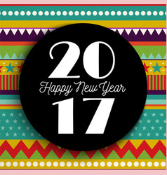 Happy new year 2017 abstract color art card design vector