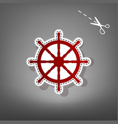 Ship wheel sign  red icon with for vector