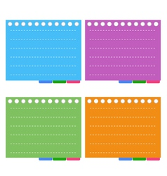 Four Color of Lined Spiral Notepad Papers vector image