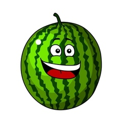 Happy refreshing green cartoon watermelon vector
