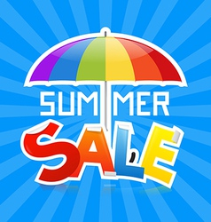 Summer sale on retro blue background vector
