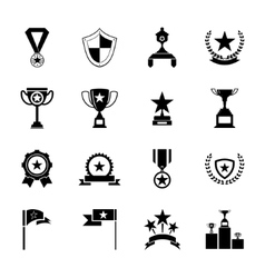 Awards symbols and trophy silhouette icons set vector