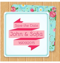 Vintage floral wedding invitation square shape vector image