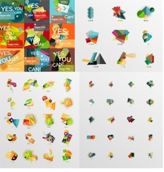 Mega collection of paper graphic banners labels vector