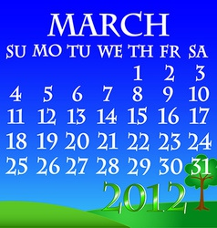 March 2012 landscape calendar vector