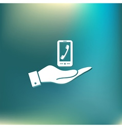 Hand holding a smartphone with the symbol vector