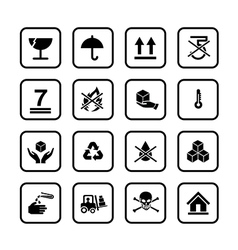 Set of packing symbols icon for box isolated on vector