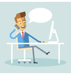 Manager sitting legs crossed at desk talking phone vector