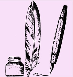 Inkwell feather pen vector