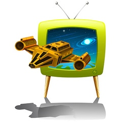 Television screen with spaceship flying in the vector image