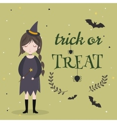 Little cute witch halloween poster background vector