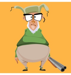 Cartoon bellied old hunter with a gun vector