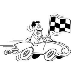 Cartoon man holding a checkered flag vector