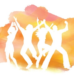 People dancing on a watercolor background vector image