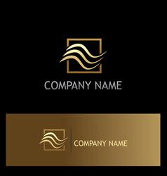 abstract wave air gold logo vector image vector image